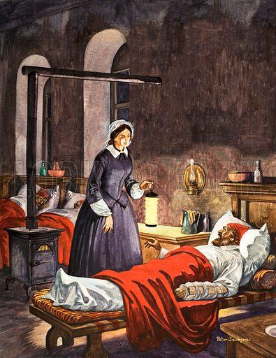 Florence Nightingale visiting sick soldiers in hospital, Scutari, Turkey, Crimean War, 1855
