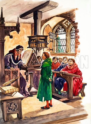 The Wonderful Story of Britain: Schools in the Middle Ages. 	A classroom in the Middle Ages where a pupil answers questions as the other scholars listen silently, afraid of the schoolmaster's birch. Original artwork from Treasure no. 74 (13 June 1964).