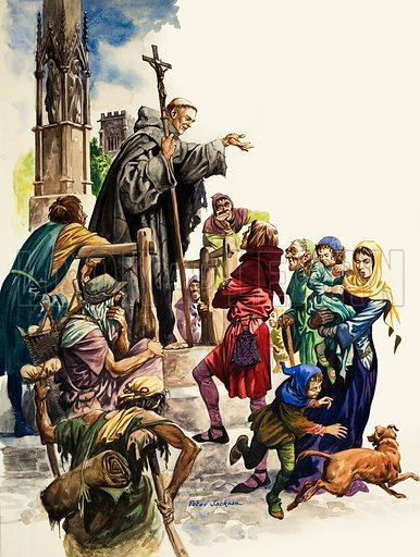 The Wonderful Story of Britain: The Friars Come to Britain. A Franciscan friar preaching in a market place. Original artwork from Treasure no. 53 (18 January 1964).