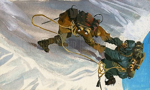 On the edge of the precipice. Mountaineers climb an almost sheer, icy mountain face to reach a ledge. Original artwork.