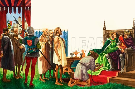 King Edward III and the burghers of Calais. King Edward proved himself to be a merciful king after defeating the French at the Battle of Crecy and allowing the townsfolk of Calais to go free if their leaders presented him the key to the city. Original artwork from Treasure no. 350 (27 September 1969).