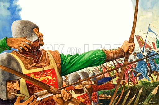 Once Upon a Time: A Bowman of England. The Battle of Crecy in France was a great victory for King Edward, aided greatly by the ranks of English longbowmen. Original artwork from Treasure no. 349 (20 September 1969).