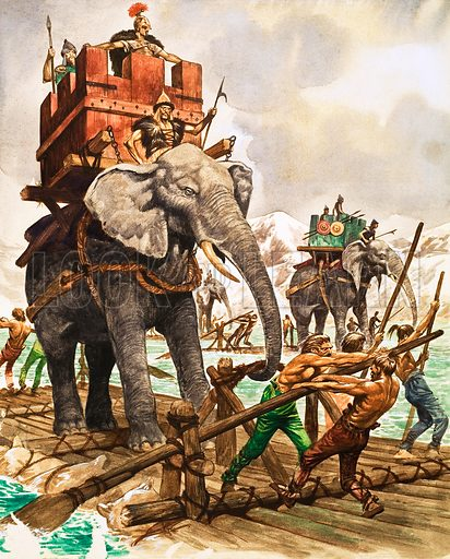 The History of Our Wonderful World: Hannibal of Carthage. Hannibal and his elephants crossing a river by raft. Original artwork from Treasure no. 244 (16 September 1967).