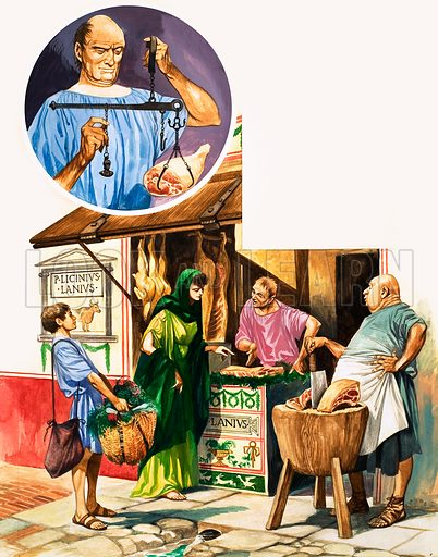 The History of Our Wonderful World: Roman Shops. Buying meat at the butchers with (inset) the shop owner using scales to weigh the meat. Original artwork from Treasure no. 248 (14 October 1967).