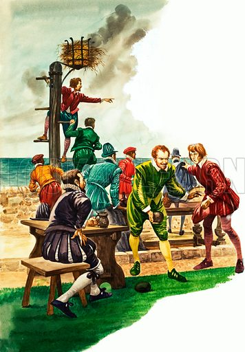 The Wonderful Story of Britain: The Great Armada. Drake, Hawkins and the other sea-captains are playing bowls on Plymouth Hoe, when news is brought that the Spanish Armada has been sighted in the Channel. Original artwork from Treasuer no. 95 (7 November 1964).