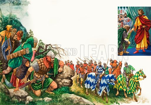 Once Upon a Time: The Chieftain Prince. The English Army leave Chester and march on Wales under the banner of King Edward; (top right) The Welsh leader, Llewelyn, surrenders to King Edward. Original artwork from Treasure no. 345 (23 August 1969).