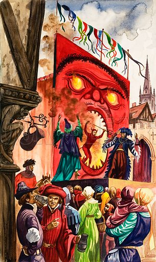 The Wonderful Story of Britain: The Miracle Plays. Townsfolk watch a scene from a Miracle Play in which a demon cavorts in the fiery mouth of the devil. Original artwork from Treasure no. 65 (11 April 1964).