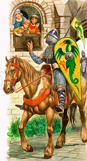 Growing Up in Norman England: Off to Serve the King. Knights and Lords of King William's realm were required to dedicate six weeks of the year to fighting for the King and two months in times of war. Original artwork from Treaure no. 333 (31 May 1969).