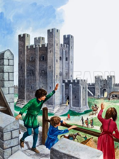Once Upon a Time: When Home was a Norman Castle. Children of status found it great fun to live in a castle. Original artwork from Treasure no. 330 (10 May 1969).