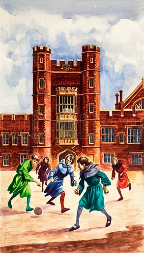 The Wonderful Story of Britain: Schools in the Middle Ages. Original artwork from Treasure no. 74 (13 June 1964).