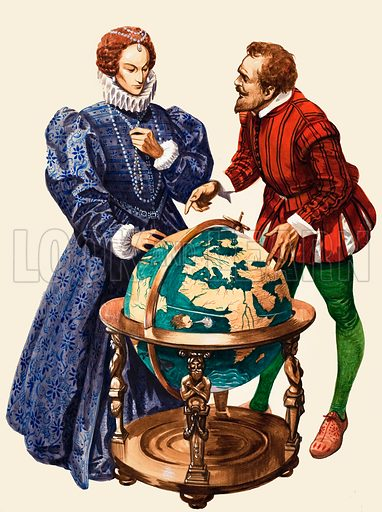 English navigator Francis Drake explaining his plan to sail around the world to Queen Elizabeth I, 1577. Original artwork from Treasure no. 92 (17 October 1964).