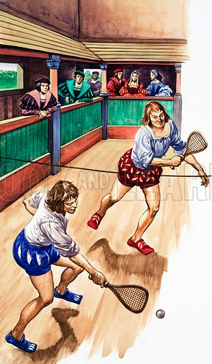 Playing real tennis in Tudor times, 16th Century. Original artwork from Treasure no. 81 (1 August 1964).