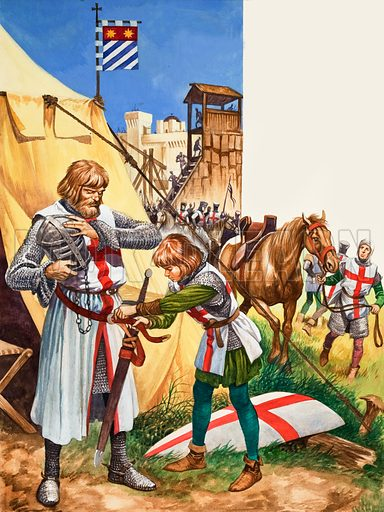A squire dressing a knight for battle during the Crusades. Original artwork from Treasure no. 343 (9 August 1969).