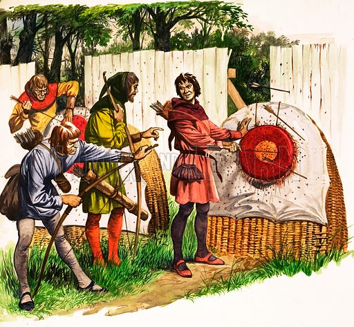 The Wonderful Story of Britain: The Bowmen of Britain. Sunday archery practice on the village green as four friends examine the targets. Original artwork from Treasure no. 55 (1 February 1964).