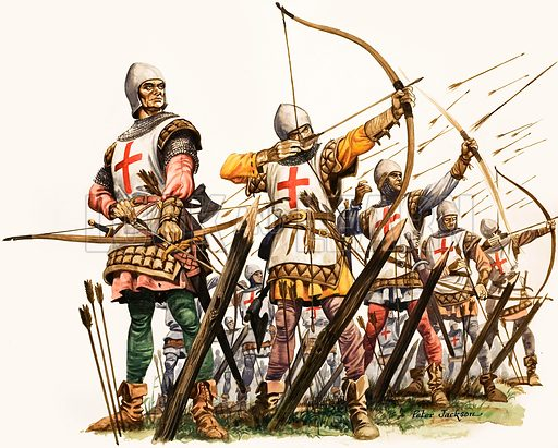 English longbowmen at the Battle of Crecy, France, Hundred Years War, 1346. Original artwork from Treasure no. 55 (1 February 1964).