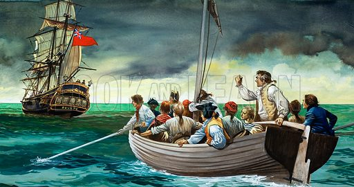 Mutiny on the Bounty. The mutineers of the Bounty sent the loyal crew of Captain Bligh on a journey into the Pacific Ocean. Original artwork.
