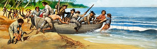 Mutiny on the Bounty. Landing on Pitcairn Island. Original artwork.