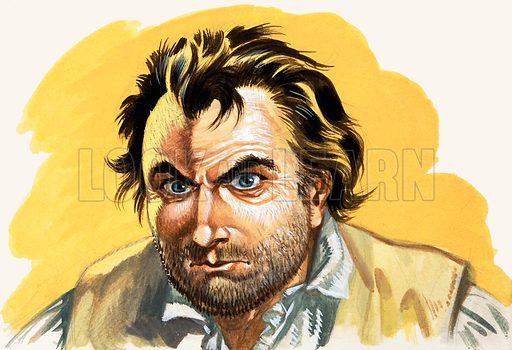 Mutiny on the Bounty. Fletcher Christian, who led the mutiny. Original artwork.