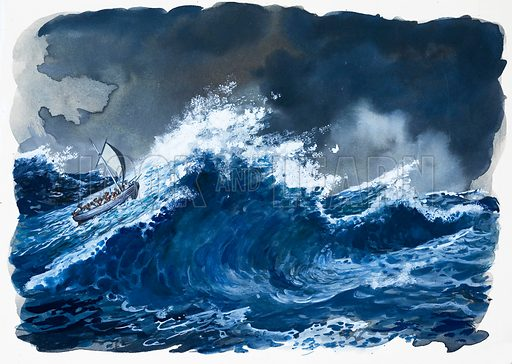 Mutiny on the Bounty. The remorseless pounding of the Pacific Ocean. Original artwork.