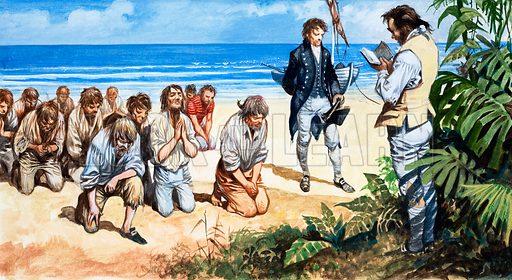 Mutiny on the Bounty. Prayers on Pitcairn Island. Original artwork.