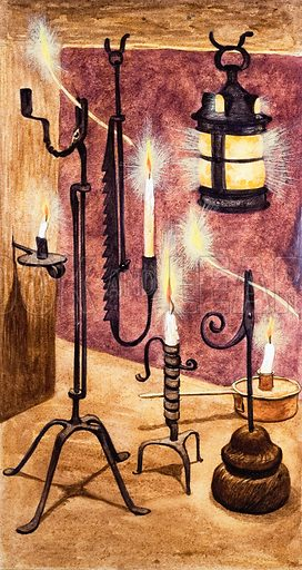 Once Upon a Time... lights and lamps from long ago. Ornate candlestick holders. Original artwork from Treasure no. 297 (21 September 1968).