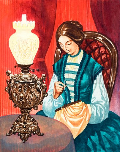 Once Upon a Time… lights and lamps from long ago. Sewing by paraffin lamp light. Original artwork from Treasure no. 297 (21 September 1968).