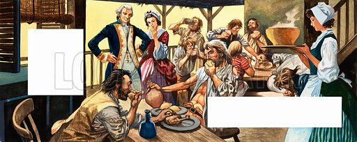 Mutiny on the Bounty. Survivors of the mutiny tuck into food for the first time in weeks. Original artwork.