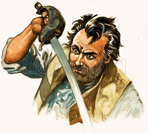 Mutiny on the Bounty. Sailor and sword. Original artwork.