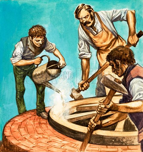 Once Upon a Time... village life one hundred years ago. Wheelwrights putting the iron rim on a wheel. Original artwork from Treasure no. 271 (23 March 1968).