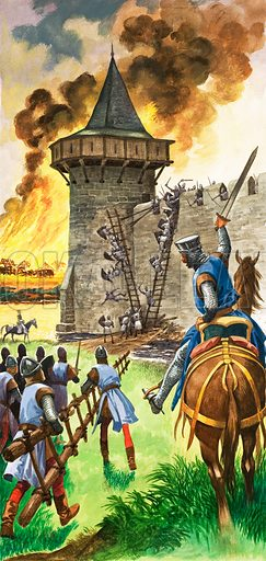 Once Upon a Time: In the Days of King Stephen – The Siege. An attack on a Norman castle. Original artwork from Treasure no. 336 (21 June 1969).