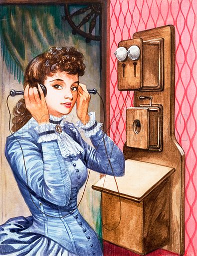 Once Upon a Time... communication one hundred years ago. An early telephone. Original artwork from Treasure no. 274 (13 April 1968).