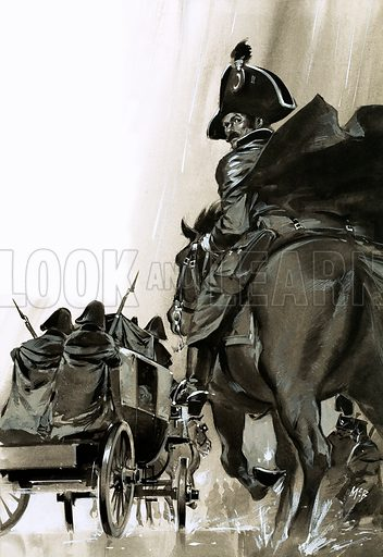 Unidentified soldiers on horse and in cart. Original artwork (dated 17/12/66).