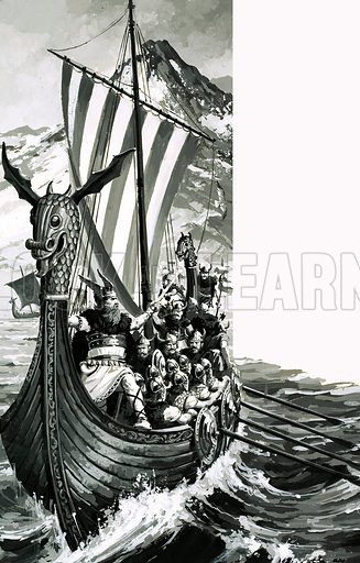 Gateway to Adventure: Land of the Norsemen. Original artwork from Look and Learn no. 727 (20 December 1975).