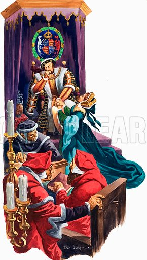 Treason: The Man Who Defied the King. The rift between Sir Thomas More and the king began when King Henry VIII decided to divorce his wife, Catherine of Aragon. Original artwork from Look and Learn no. 553 (19 August 1972).