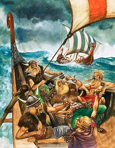 The History of Our Wonderful World: The Vikings. Original artwork from Treasure no. 260 (6 January 1968).