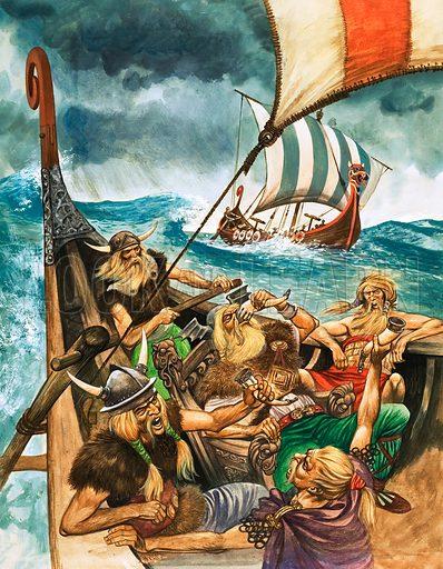 Viking longships on a sea voyage. The History of Our Wonderful World: The Vikings. Original artwork from Treasure no. 260 (6 January 1968).