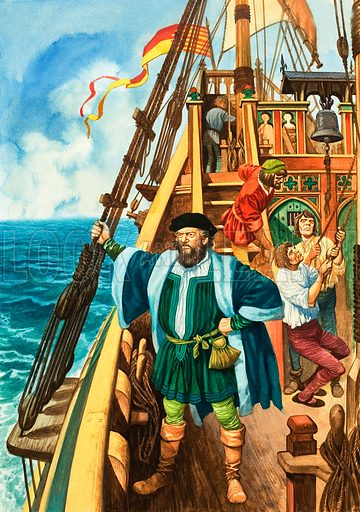 A Three-Year Voyage. Ferdinand Magellen set sail for the Spice Islands, only to be killed in the Phillippines. Original artwork from Treasure no. 394 (1 August 1970).