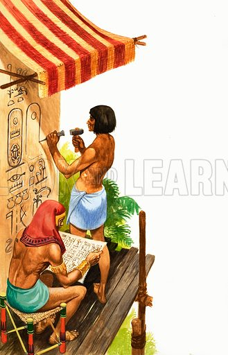 Once Upon a Time... there was no ABC to learn. The Egyptians recorded history using hieroglyphics. Original artwork from Treasure no. 314 (18 January 1969).