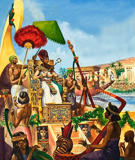 Tutankhamun sailing down the River Nile, 14th Century BC