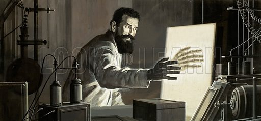 German scientist Wilhelm Roentgen and the discovery of X-rays, 1895. Original artwork from Look and Learn no. 793 (26 March 1977).