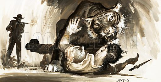 Tiger attacking a hunter. Original artwork (dated 27 June).