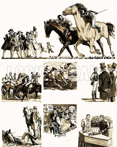 Unidentified story of a jockey. Original artwork (dated 29/11/69).