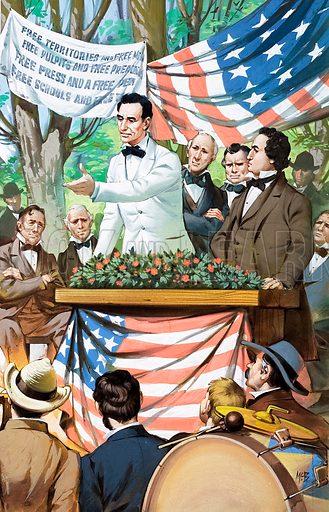 Abraham Lincoln making a speech.