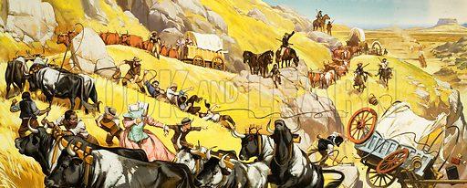Unidentified wild west scene. Oklahoma trail (?). Original artwork.