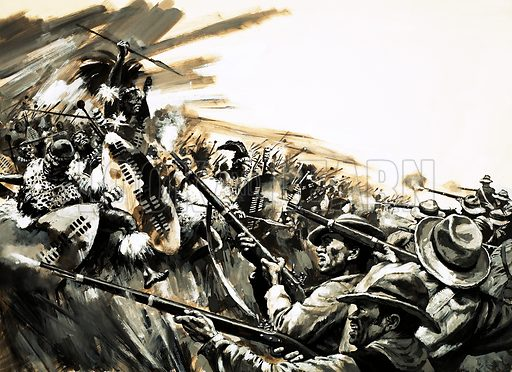 Unidentified battle with Zulu warriors, possibly Roarke's Drift (?). Original artwork (dated 12/4/80).