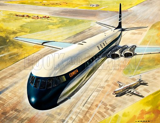 BOAC's Comet 4 passenger aircraft. Original artwork (dated 20/1/73).