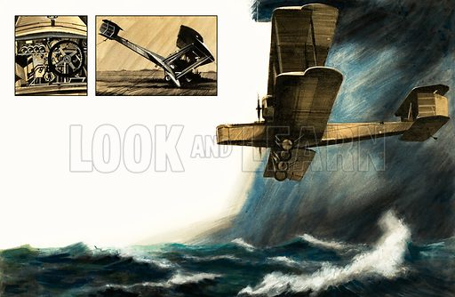 Unidentified early biplane flying over stormy seas, with inset of cockpit and crashed plane. Original artwork (dated 25 Jan).