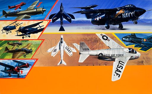 US Airforce fighter planes. Original artwork from Speed Power Book 1971.