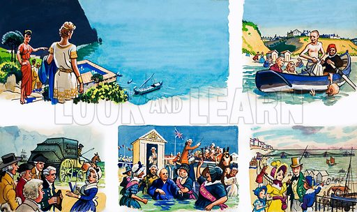 From Then Till Now: At the Seaside. Original artwork from Look and Learn no. 83 (17 August 1963).