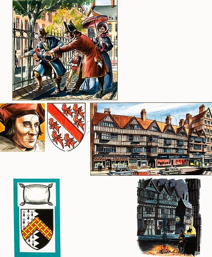 Inns of Court: Inns of Chancery. Original artwork from Look and Learn no. 459 (31 October 1970).